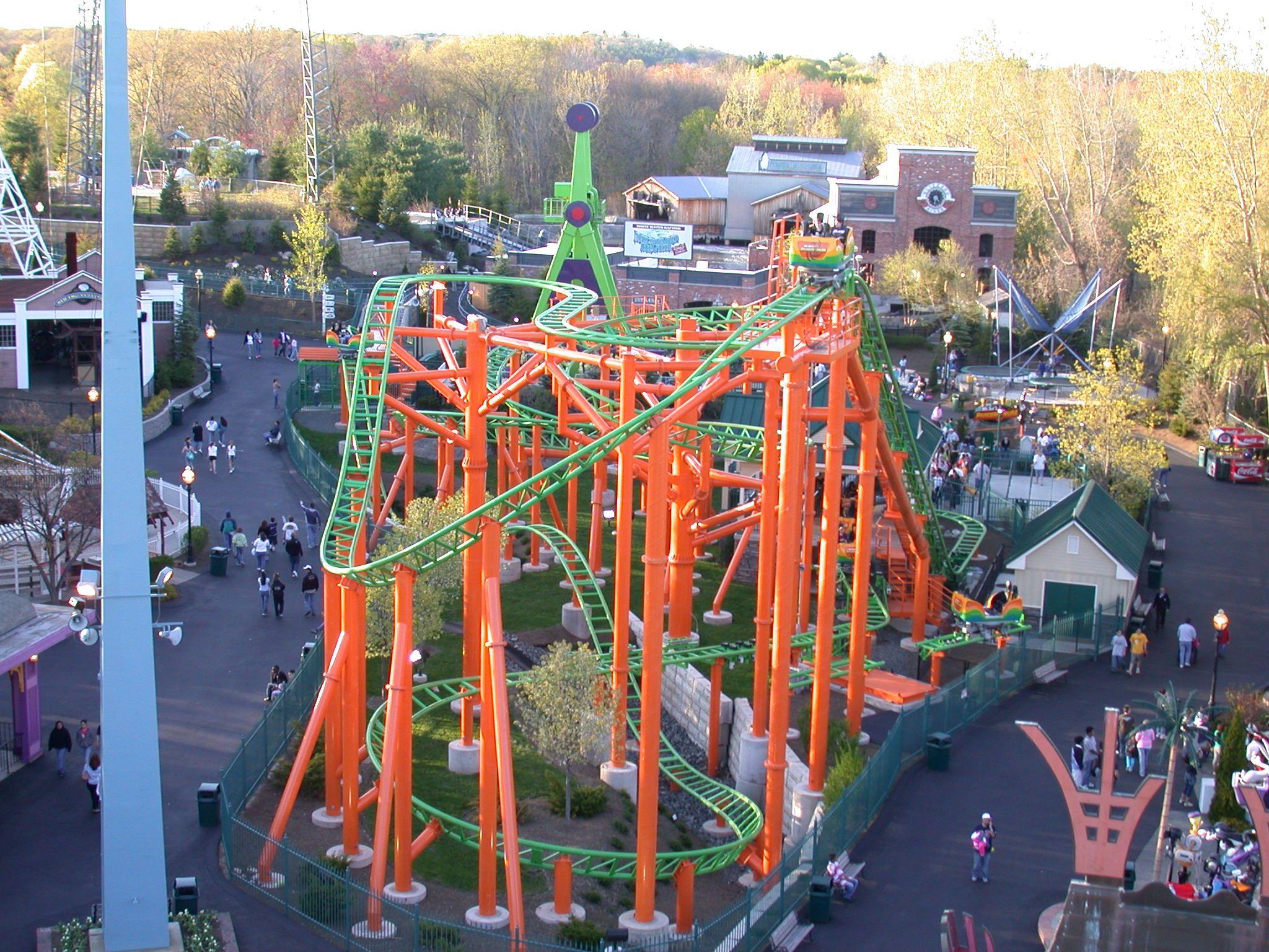 Pandemonium Roller Coaster At Six Flags New England Roller Coaster Amusement Park Theme Park