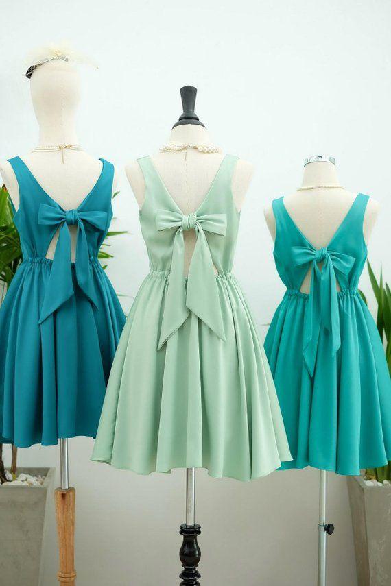 Sage green dress Emerald green Bridesmaid dress Prom dress Lolita Wedding Party dress Bridal party Cocktail Formal bow back evening dress #sagegreendress