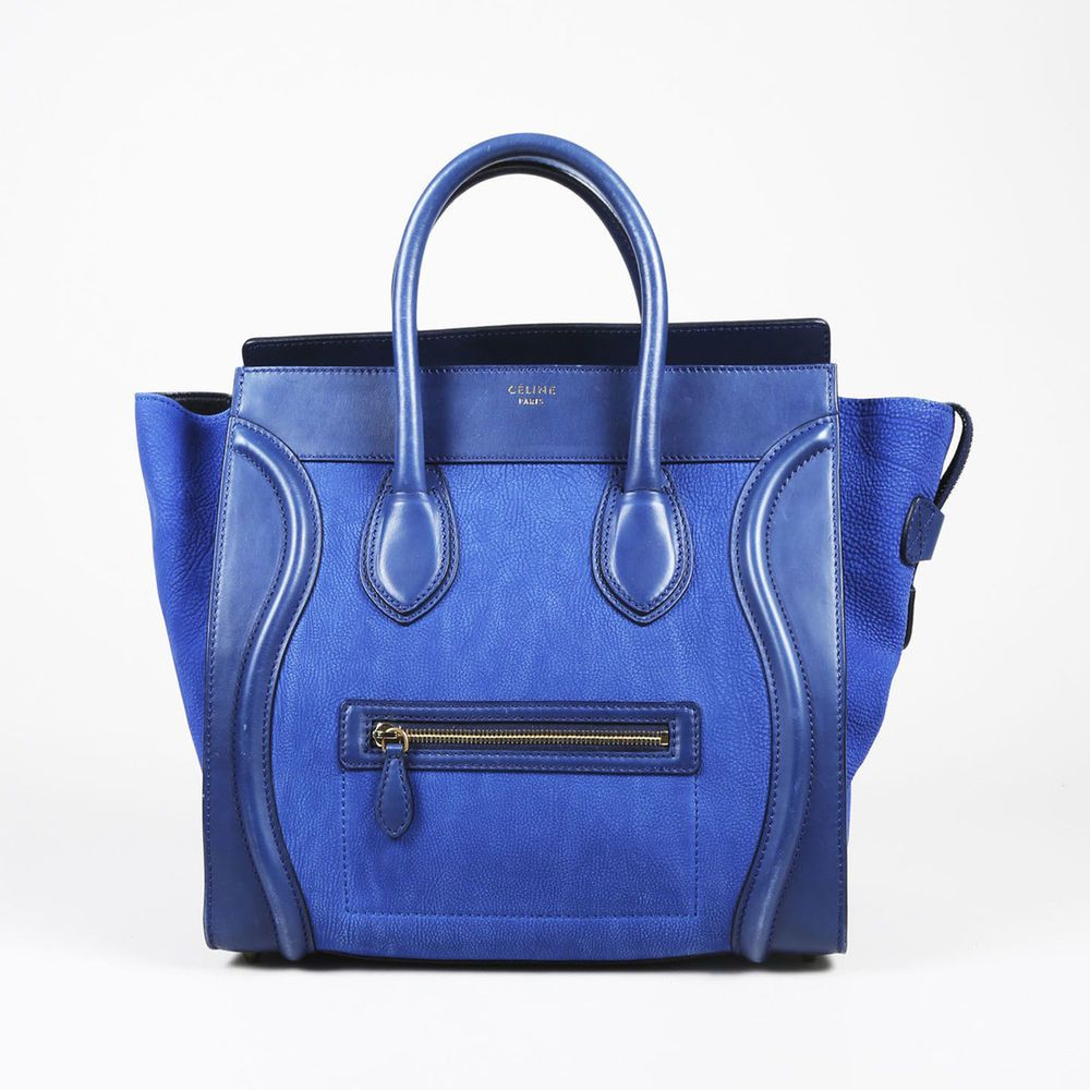f153efc046 Celine Blue Grained Leather Top Handle