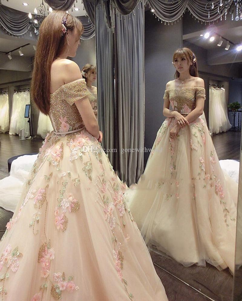 de7b9b0b5d 2017 White And Gold Wedding Dresses 3d Appliques Beaded Ball Gown Bridal  Dresses Floor Length Wedding
