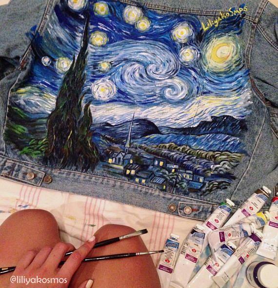 b8e74d2cb1 Van Gogh Starry Night painted denim jacket ( read the description ...