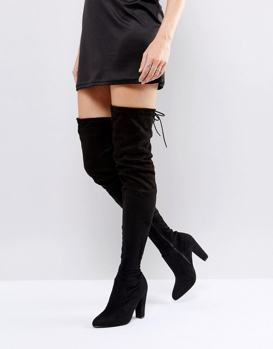 82ad872c1f3 Public Desire Olivia Tie Back Heeled Thigh High Boots - Black ...