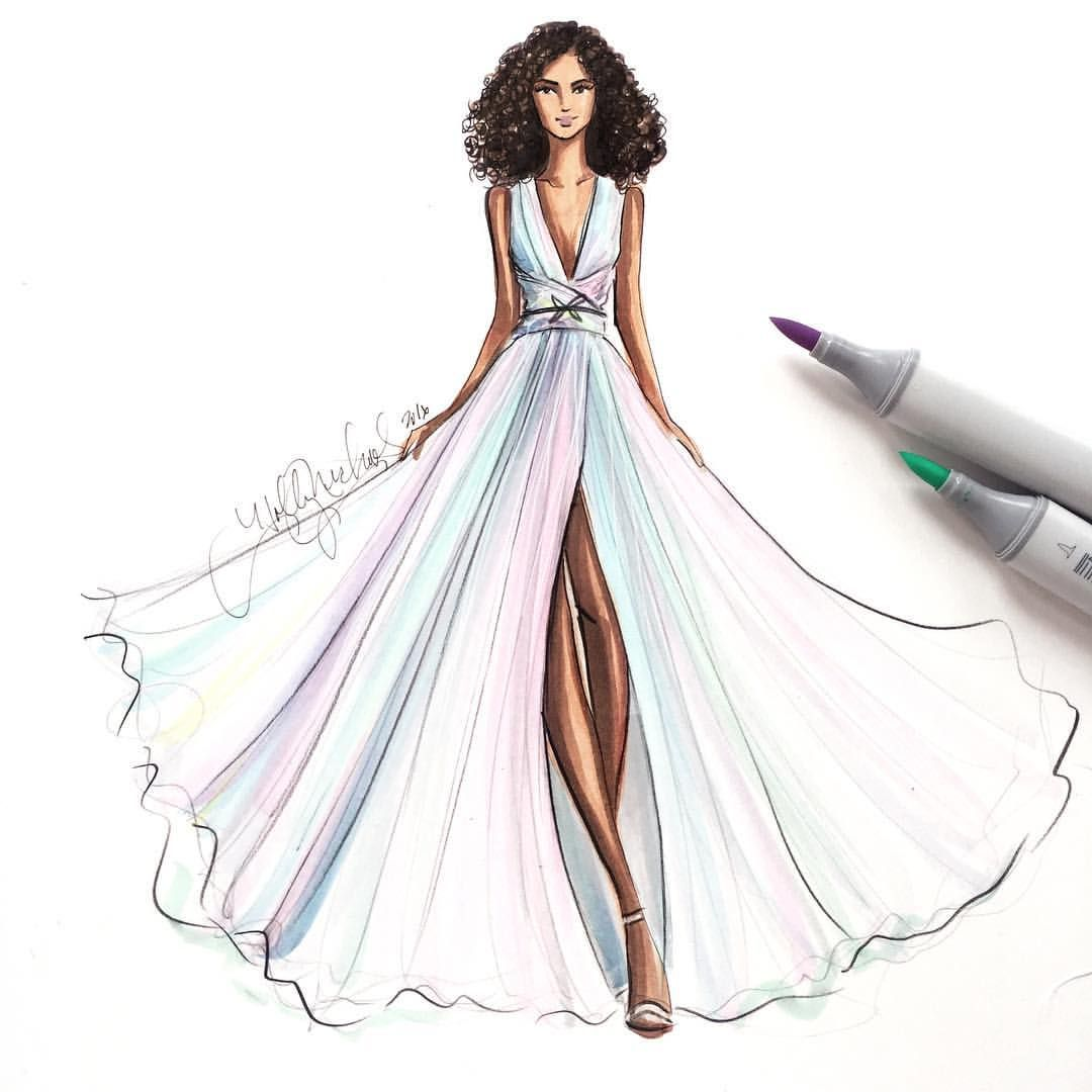 This @zuhairmuradofficial gown from the Resort 2017 collection reminded me of cotton candy #fashionsketch H. Nichols Illustrations