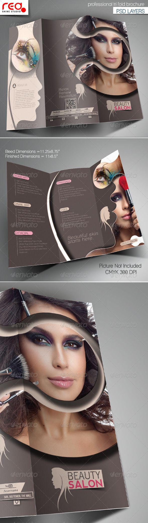Beauty Salon Promotion Trifold Brochure Template  Salon