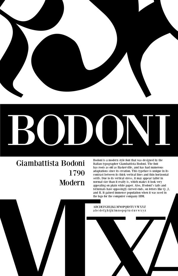 the bodoni typeface Websites using the typeface bodoni with personal recommendations for similar web fonts, suggested font pairings and the closest free alternative.