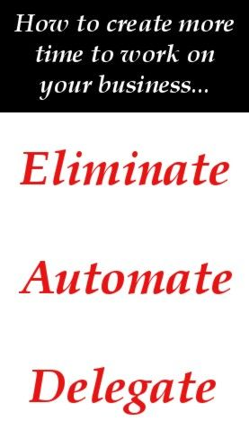 Overwhelmed doing the day to day work in your business? Create more time... Eliminate, automate or delegate tasks