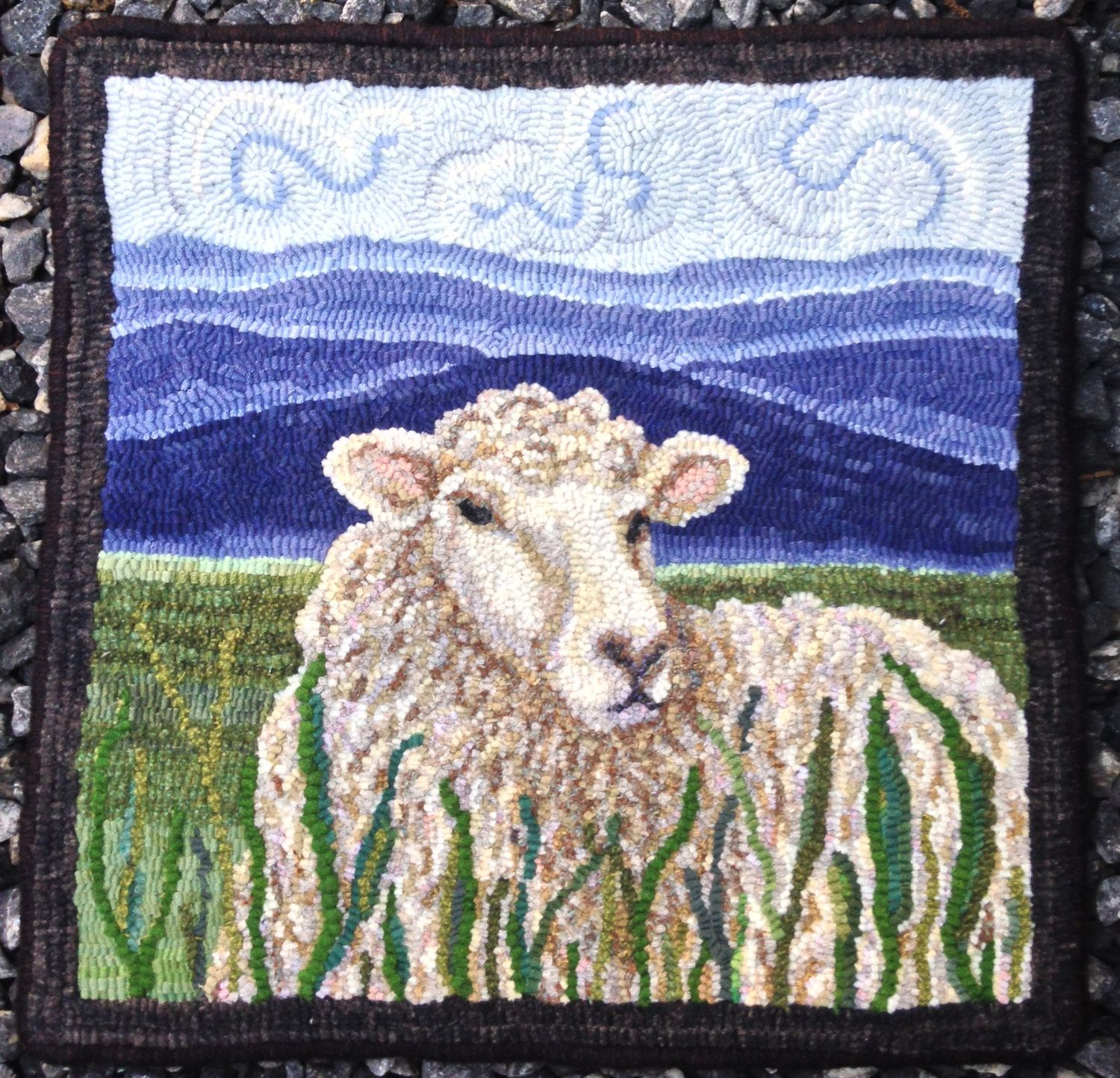 Sheep in the Meadow measures 18 by 18 inches This pattern is hand drawn on primitive linen with serged edges and generous 4 inch borders. No wool is included. As the designer of this pattern, I own the copyright. Please respect my right by not copying my design, distributing copies of my work, selling my design, or sharing my design on any other public website that may lead to copyright infringement.