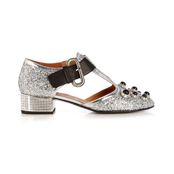 71fad0c61738 Toga Mirrored-heel glitter pumps ( 280) ❤ liked on Polyvore featuring shoes