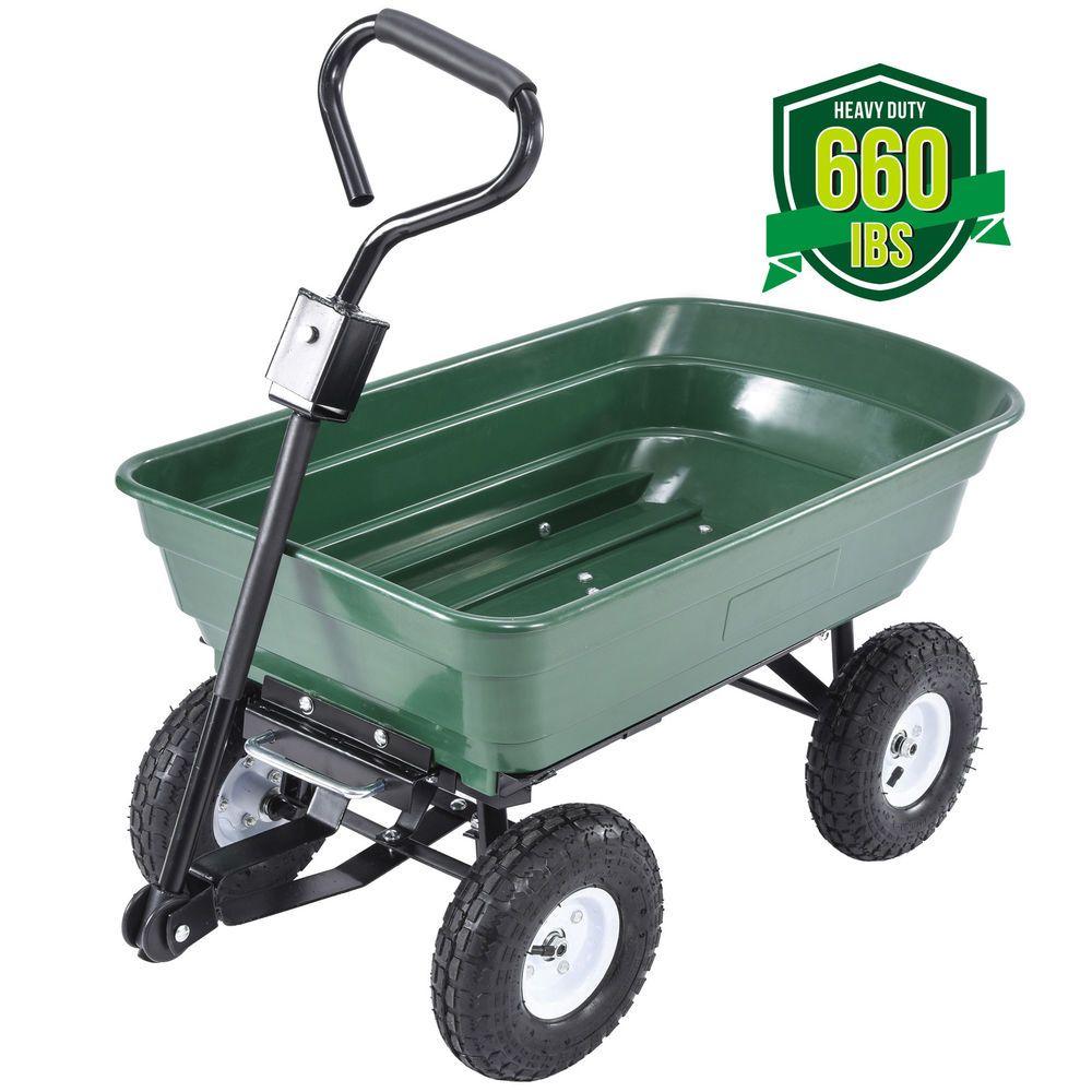 660lb Garden Dump Cart Dumper Wagon Carrier Wheel Barrow Air Tires Heavy Duty Dump Cart Carrier Wheel Tires For Sale
