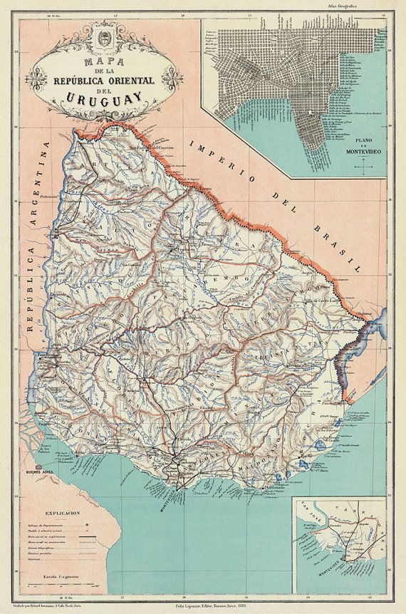Uruguay map - Old map of Uruguay archival print - Giclee print on ...