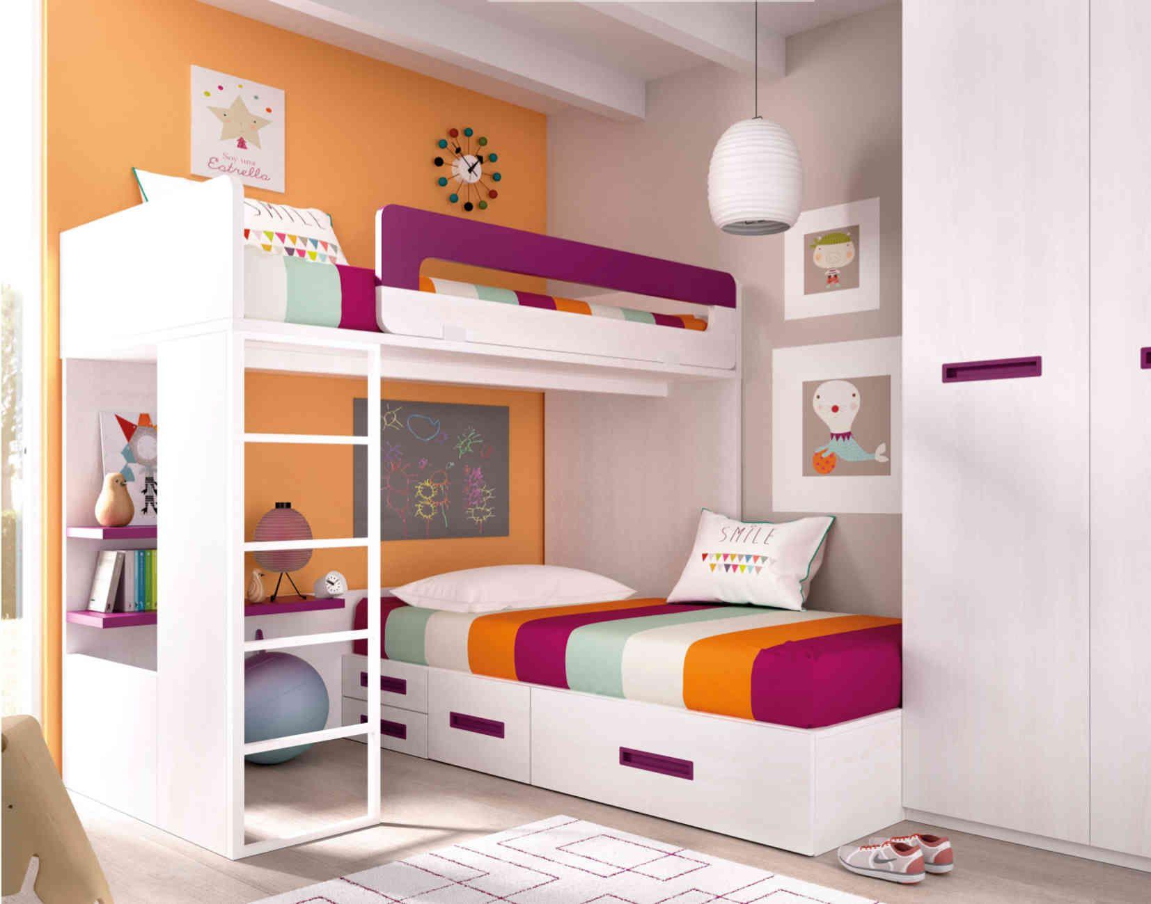 Composición de dos camas en L para colchones de 90x190 cm. Mide ...