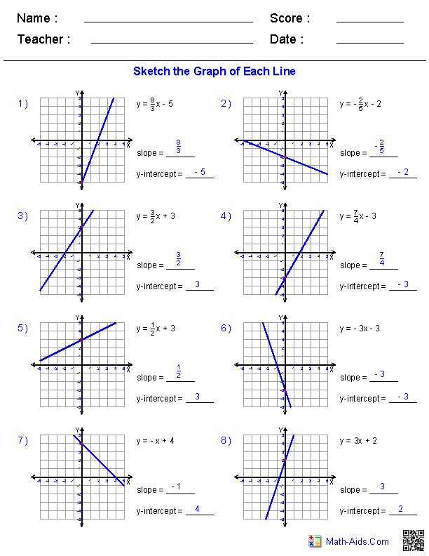 Graphing Slope Intercept Form Worksheets Graphing Linear Equations Algebra Worksheets Pre Algebra Worksheets