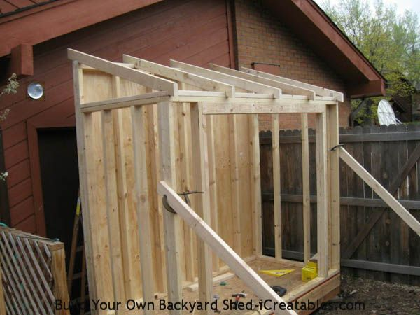 Lean To Shed Rafters Installed On Walls