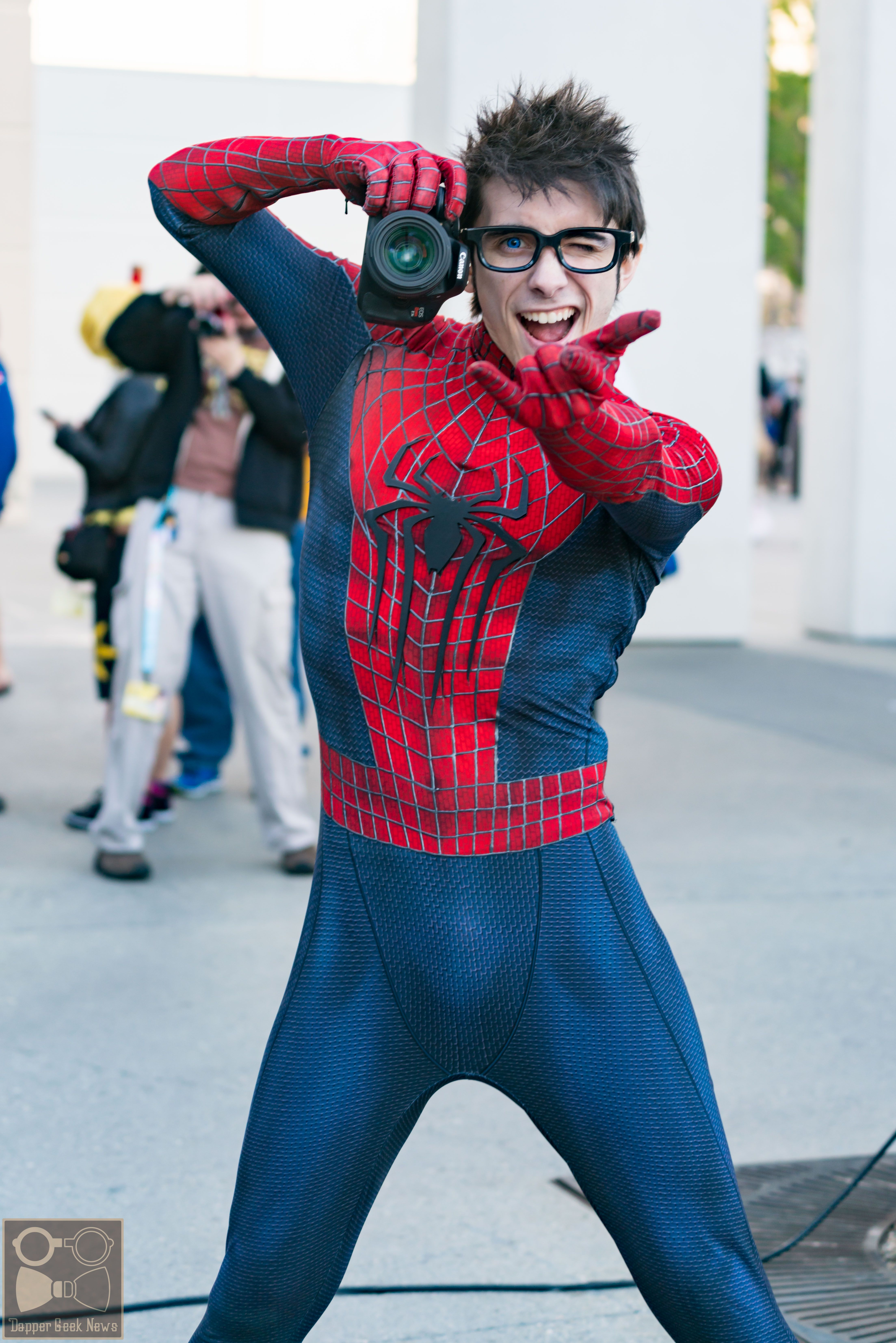 Chris villain cosplaying as spiderman during anime los