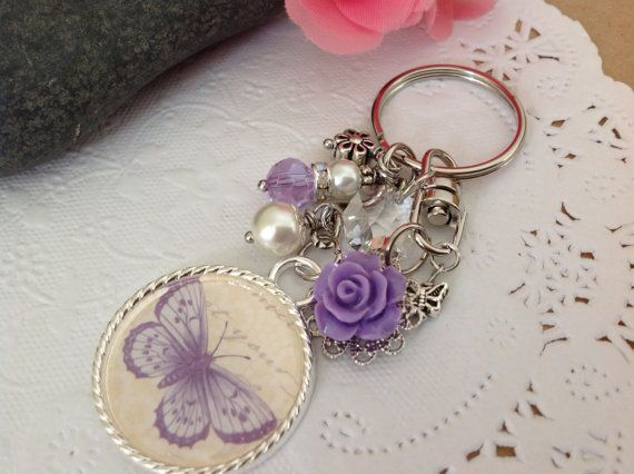 Bag dangles or keychain with butterfly pendant a by prettysang colgantes para bolsos y - Colgadores de pendientes ...