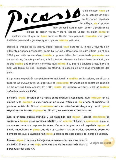 Una Biografía De Picasso Para Practicar El Pretérito Indefinido La Página Del Español Textos En Español Ejercicios De Español Aprender Español