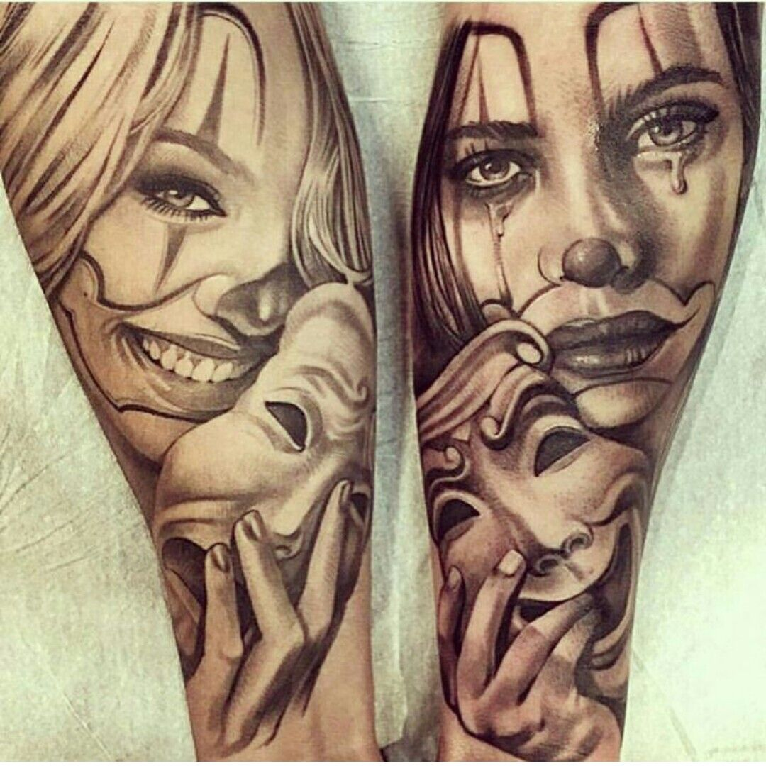 Happy and sad face masks happy and sad face tattoos - More Sick Black Grey Work From