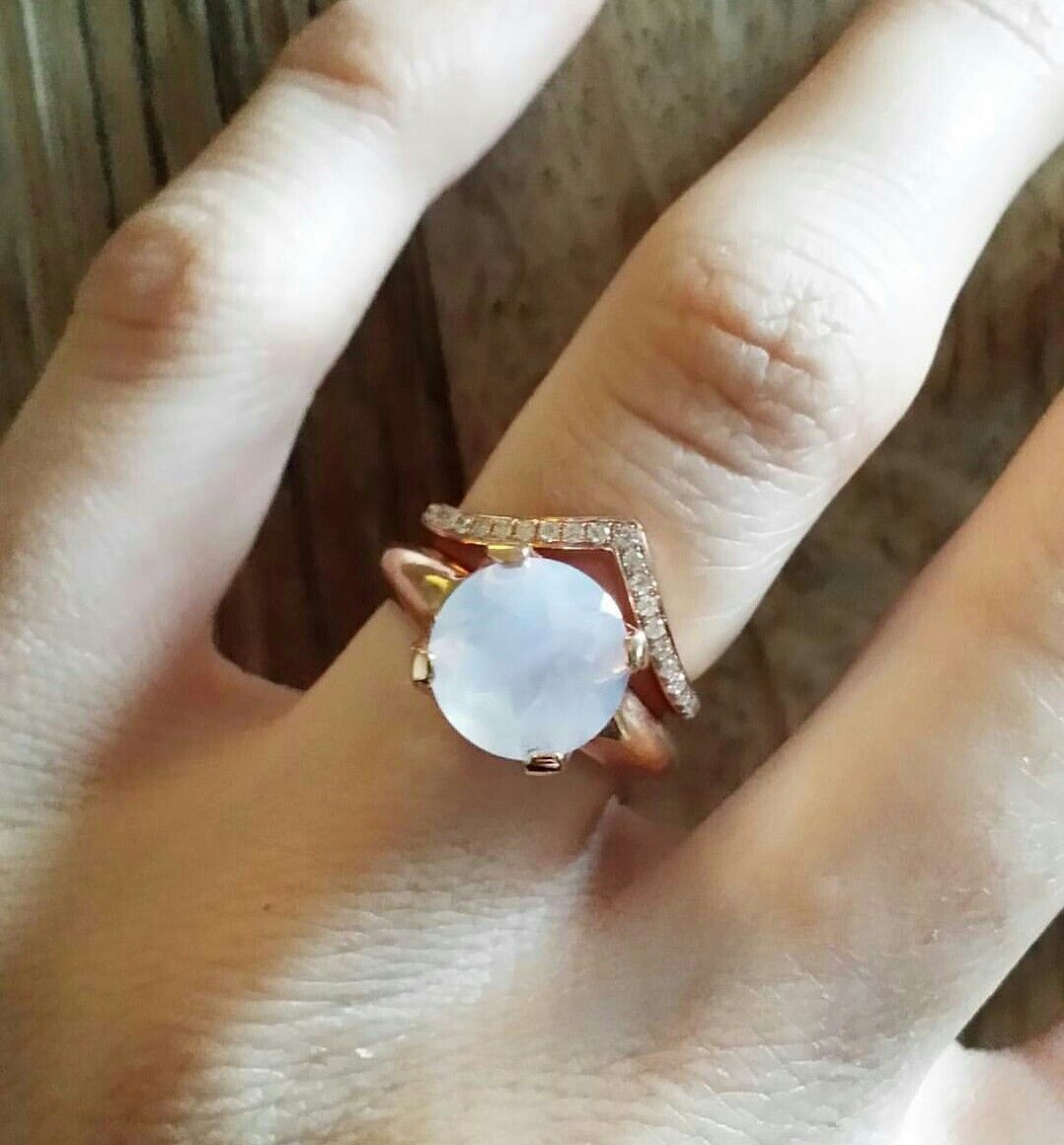 moonstone wedding ring sets lavender moonstone ring set in rose gold and paired with a rose gold thick bent stacker band with white diamond accents