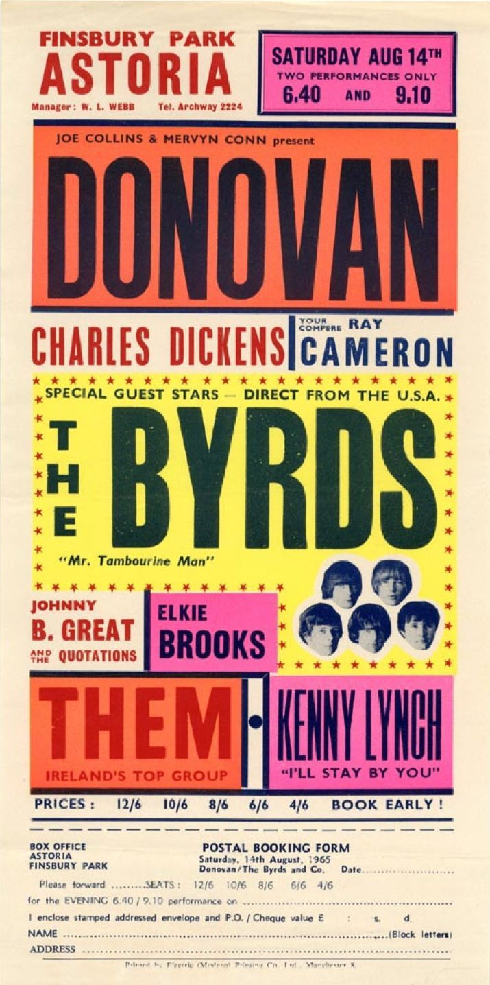 14 (1965) 1965 Concert Poster with Donovan, The Byrds, Johnny B. Great & The Quotations, Elkie Brooks, Them and Kenny Lynch - Great colors!1965 Concert Poster with Donovan, The Byrds, Johnny B. Great & The Quotations, Elkie Brooks, Them and Kenny Lynch - Great colors!