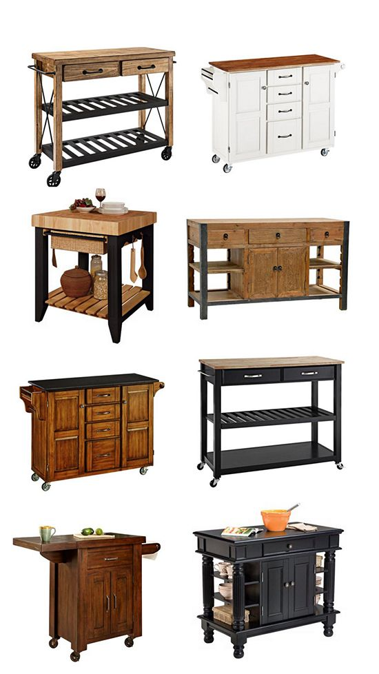 A selection of small and movable kitchen islands from Lamps ...