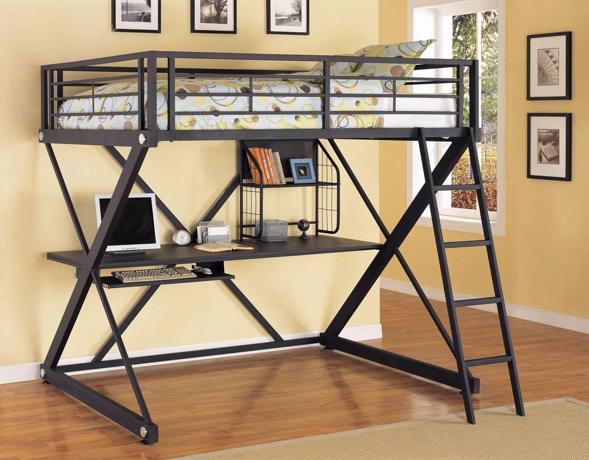 Loft bed with desk teenager  Colgar una cama del techo o pared  Lofts Desk bed and Space saver