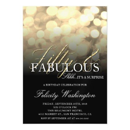 Gold Glam Fifty Fabulous Surprise Birthday Party Magnetic Card