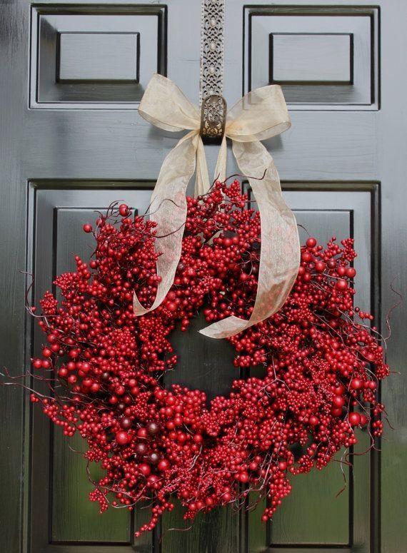 Wreath For Door Fall Wreath Berry Wreath Christmas Berry Wreath Red Berries Door Wreaths By Rosema Christmas Wreaths Fall Wreath Personalized Wreaths