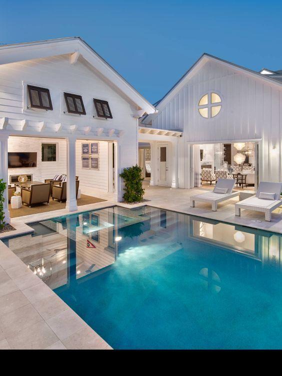 Modern Farmhouse Pool Houses House Modern Pools