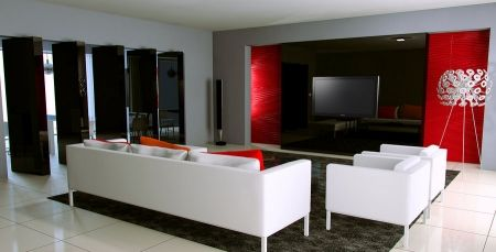 Stunning Idee Deco Salon Blanc Gris Rouge Pictures - lalawgroup.us ...