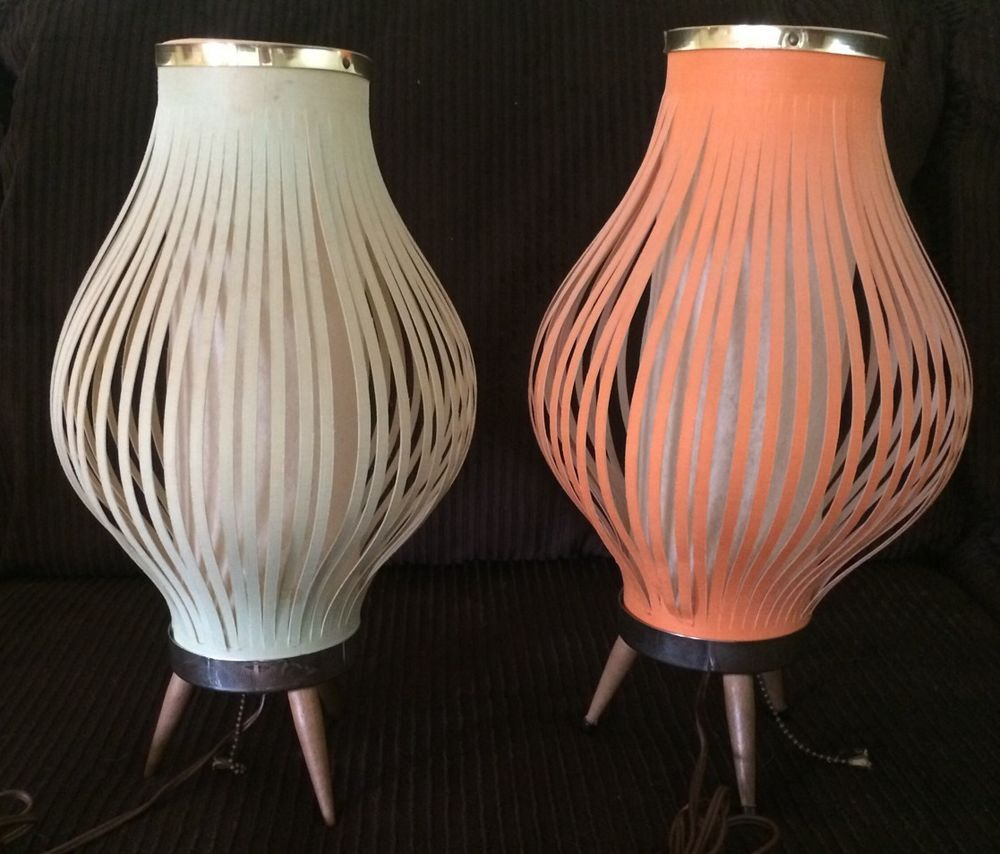 Pair of Mid Century Danish Modern Atomic Beehive Lamps Eames Era Retro