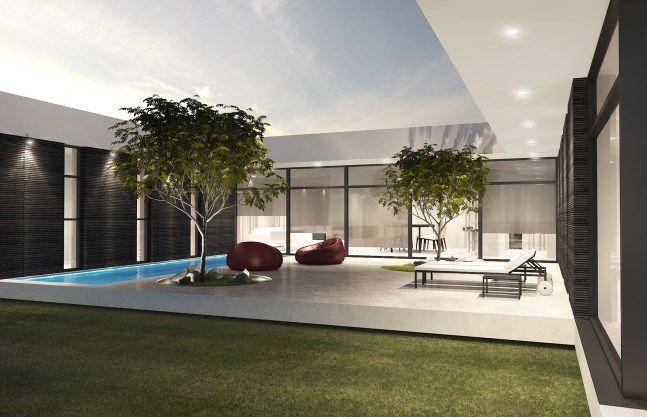 A j rezidencija vilniuje paisagismo plantas de casas e for Casa minimalista uy