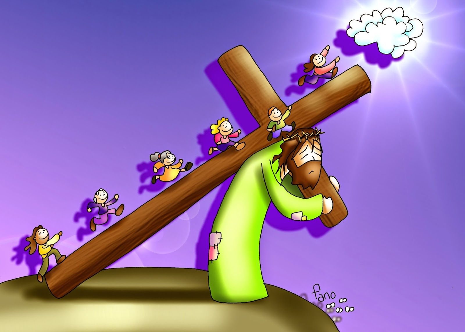 Tu Cruz Nos Lleva Al Cielo Puzzles Dibujo De Fano Para El Domingo De Ramos Historias De La Biblia Para Ninos Catequesis Catolico