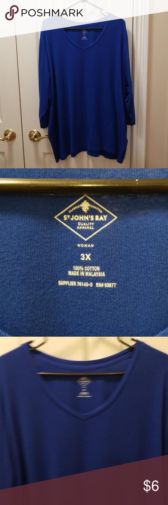 John/'s Bay Women/'s Scoop Neck Tank Top Size Medium Precio Blue 100/% Cotton St