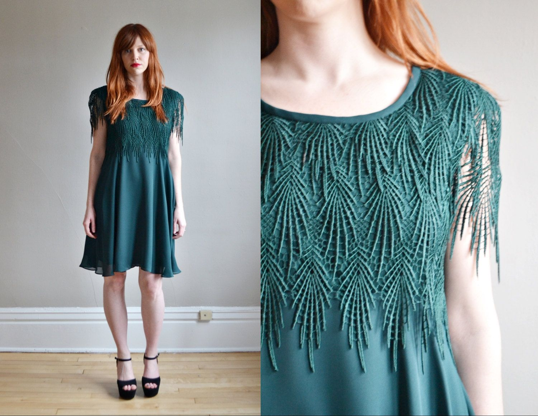 Vtg 90s green chiffon mini party dress // hunter green crochet ...
