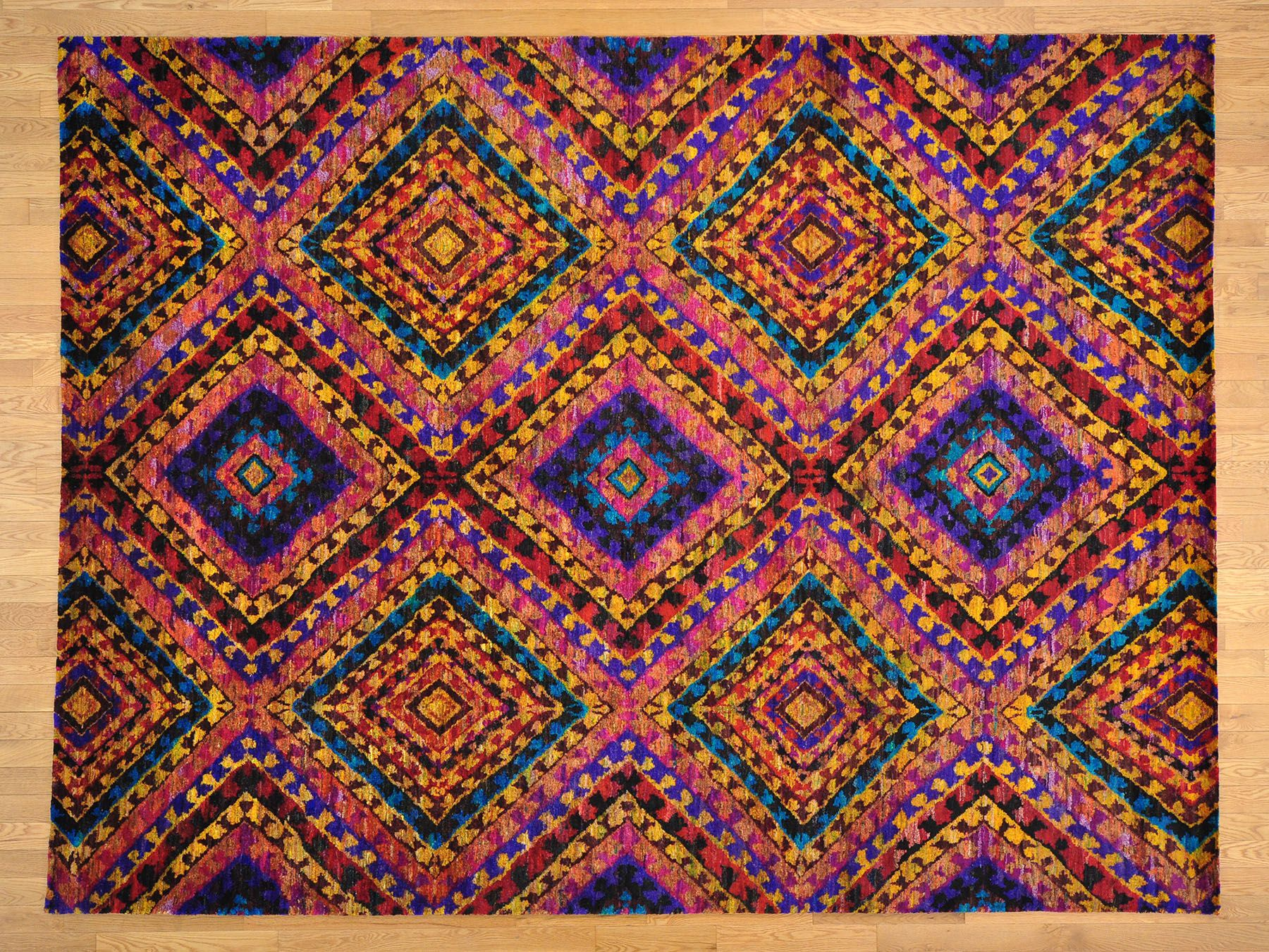9 X 12 Multicolored Sari Silk Handmade Oriental Rug Geometric Design Sh19777