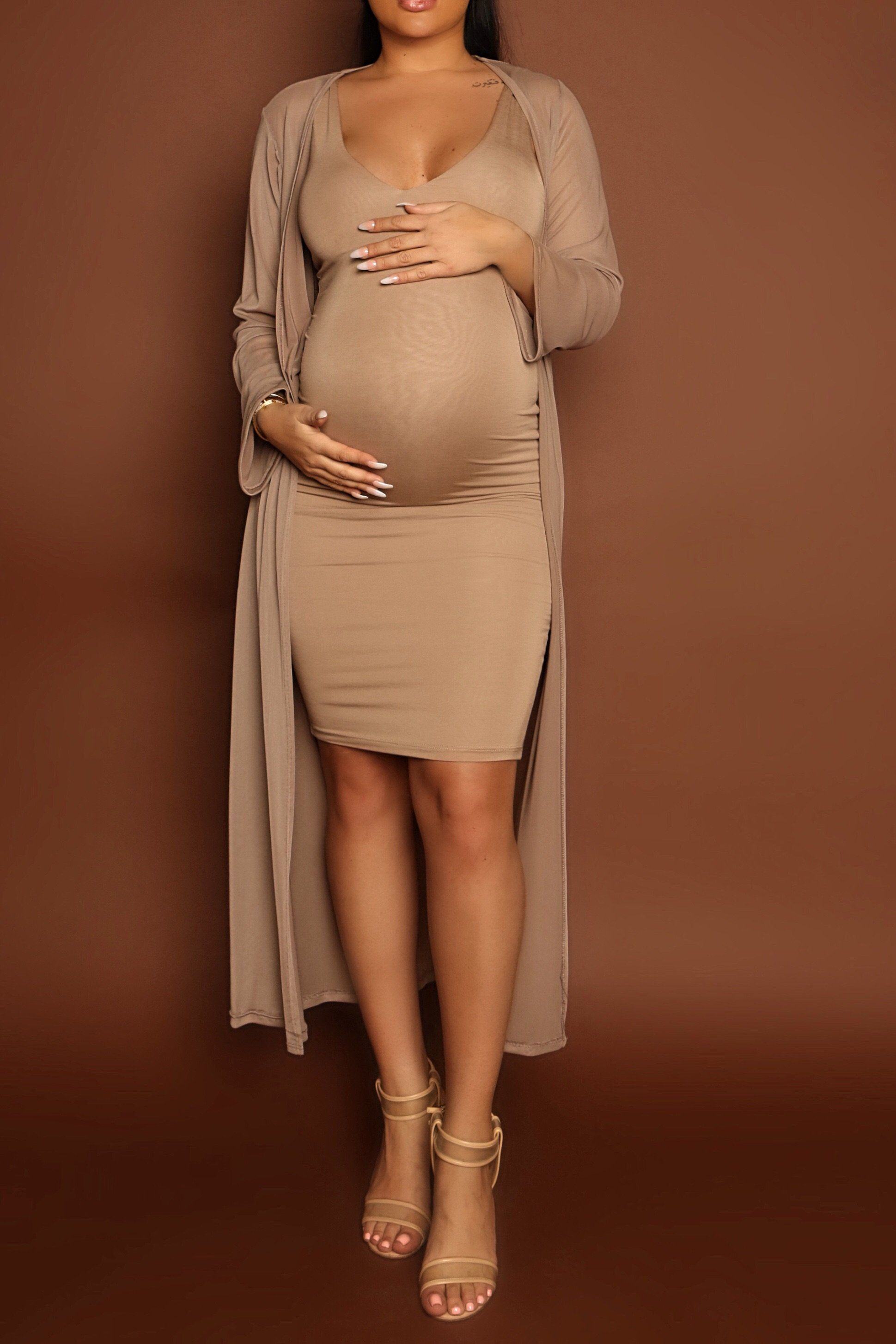 Maternity Taupe Duster – Chic Bump Casuals  Stylish maternity