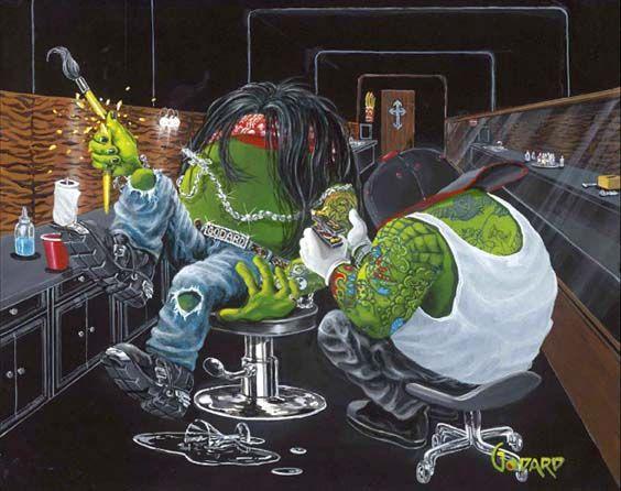 """""""Ink Slinger"""" tattoo olives  by Michael Godard artcenterink.com"""