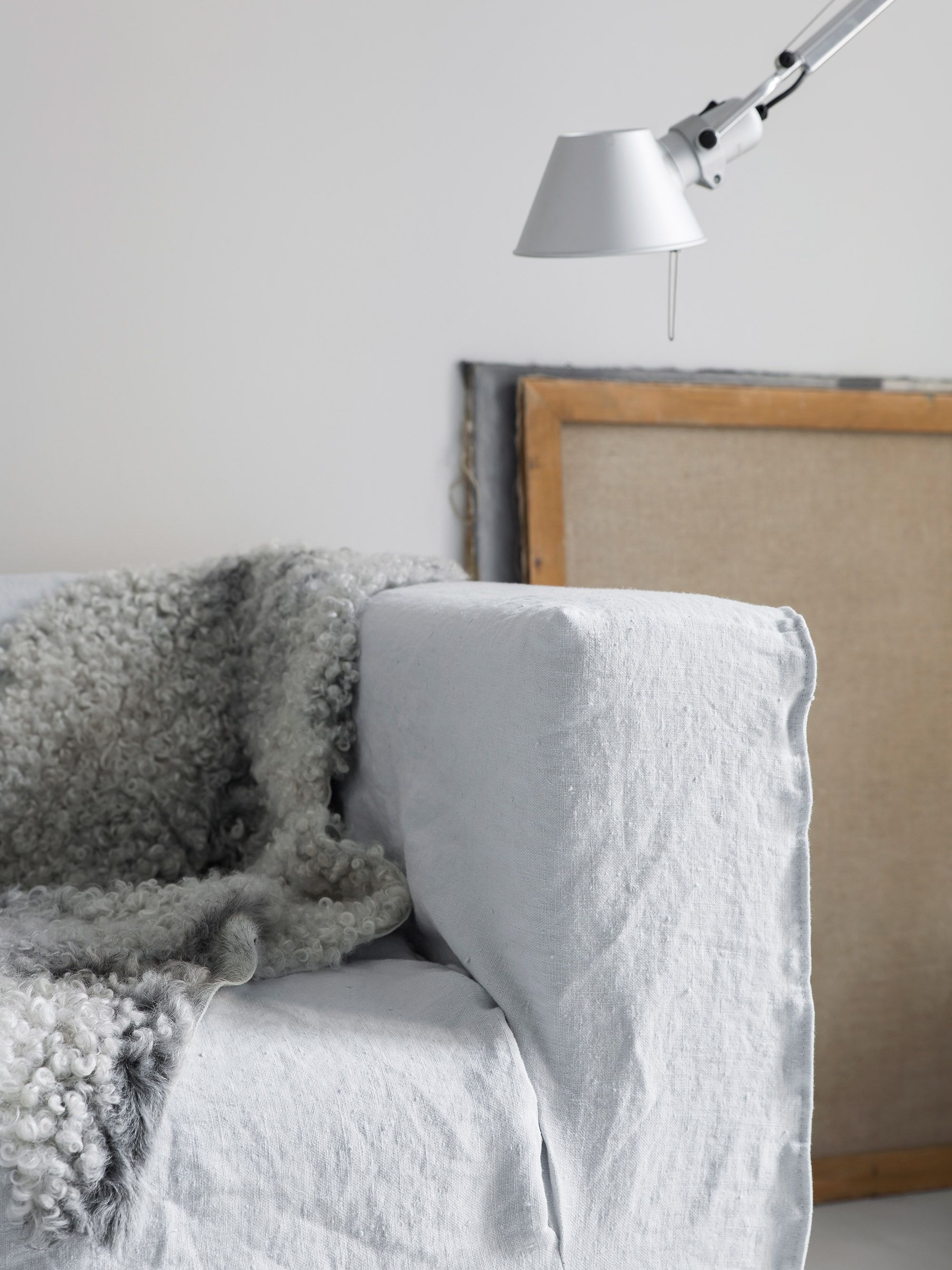 ... Help Of Stylist Pella Hedeby To Update An Old IKEA Klippan Sofa With A  Bemz Loose Fit Cover   Layered Nordic Living Room   Minimal Scandinavian  Style ...