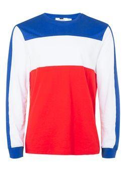 T-shirt à manches longues avec empiècement rouge, bleu et blanc