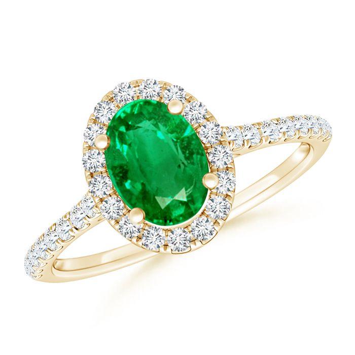 Angara Cocktail Ring with Cushion Emerald and Diamond in Platinum kk2fSzt