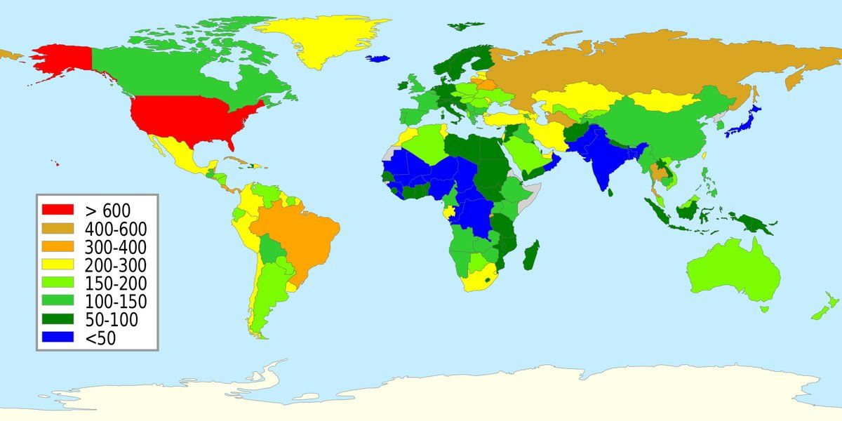 Prison population per 100000 around the world pinterest map fileprisoner population rate world gumiabroncs Gallery
