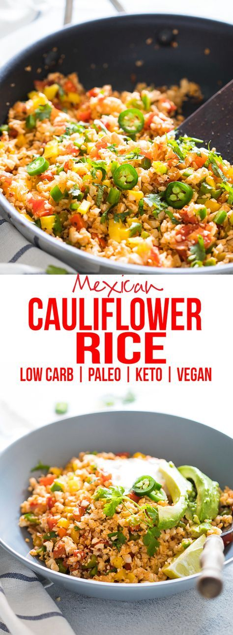 Low Carb Mexican Cauliflower Rice #tacosalad