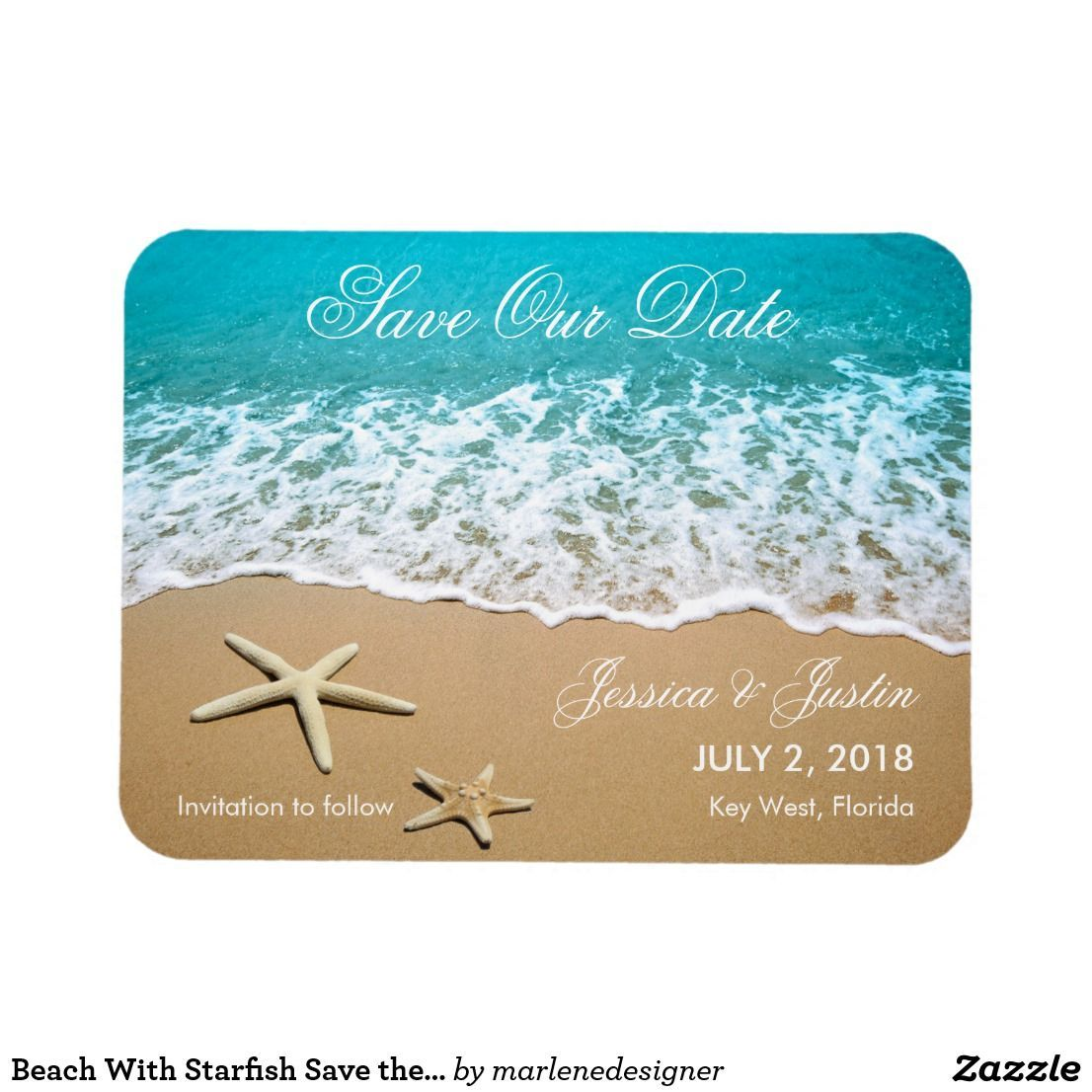 Beach With Starfish Save the Date