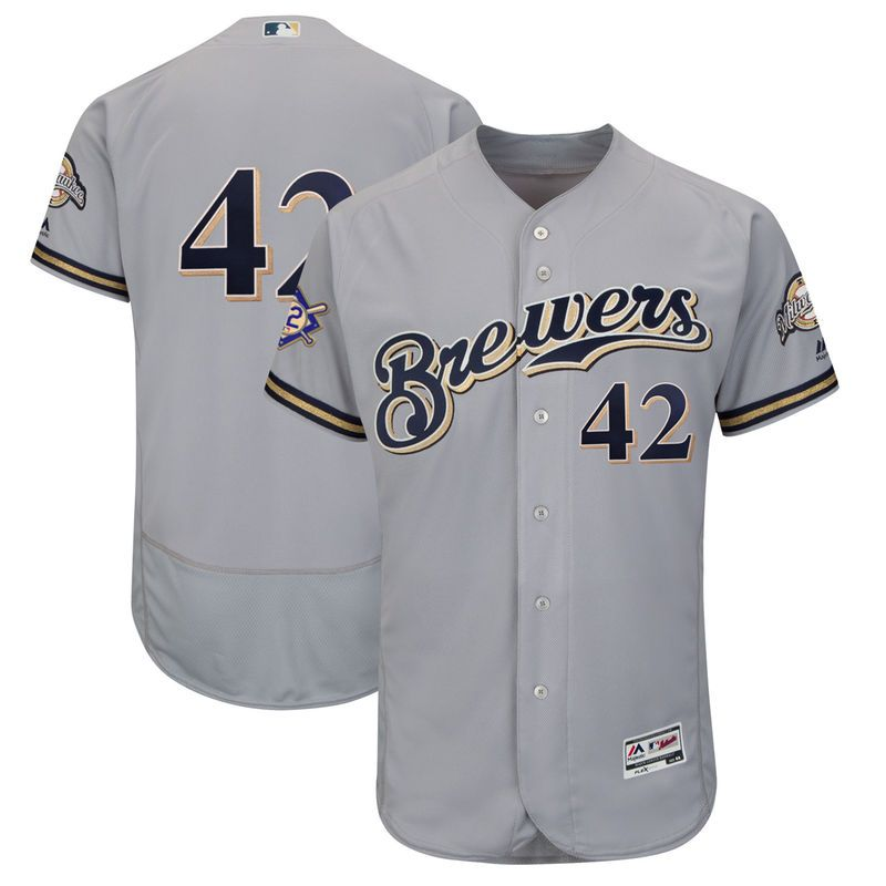 2a2bc585d8f Milwaukee Brewers Majestic 2018 Jackie Robinson Day Authentic Flex Base  Jersey – Gray