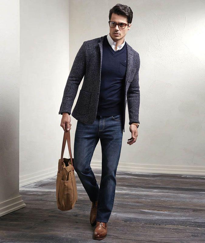 Men S Outfit Inspiration Lookbook Tweed Wool Blazer Jeans