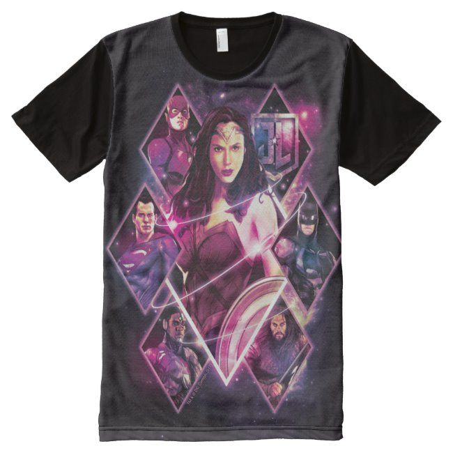 Justice League  Diamond Galactic Group Panels All-Over-Print T-Shirt #Sponsored , #AFF, #Group, #Galactic, #Print, #Panels, #Justice
