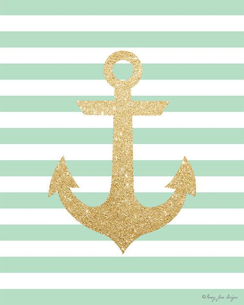 Gold Glitter Anchor With Seafoam Striped By PennyJaneDesign