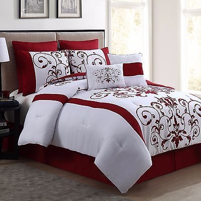 New Queen Size Comforter Set 8 Piece Red Wine And White Bedding Bed Sheets Bedroom Comforter Sets Comforter Sets Bedroom Bedding Sets