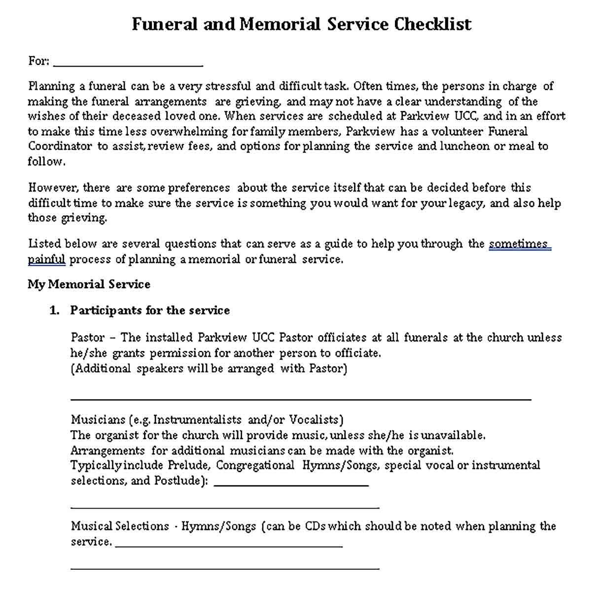 Sample Funeral and Memorial Service Checklist Funeral
