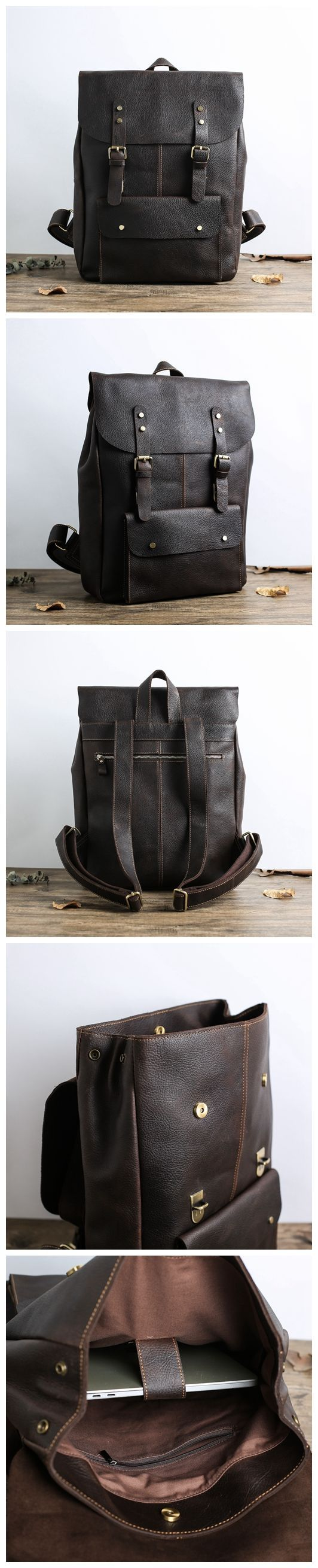 78247a524e Vintage Leather School Backpack Casual Travel Backpack Laptop Bag in Dark  Coffee 9452  159.00 USD  399.00